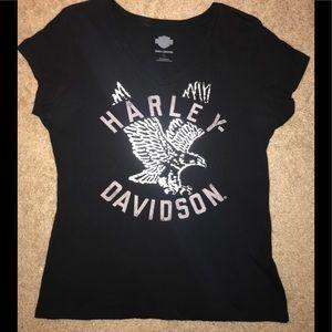 Women's Metallic Silver Harley Davidson Shirt